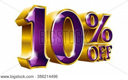 Vector 10% Off - Five Percent Off Discount Gold And Purple Sign.