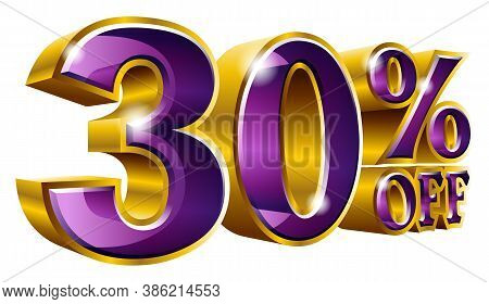 Vector 30% Off - Five Percent Off Discount Gold And Violet Sign.