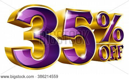 Vector 35% Off - Five Percent Off Discount Gold And Purple Sign.
