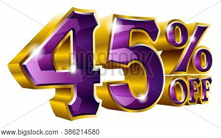 Vector 45% Off - Five Percent Off Discount Gold And Purple Sign.