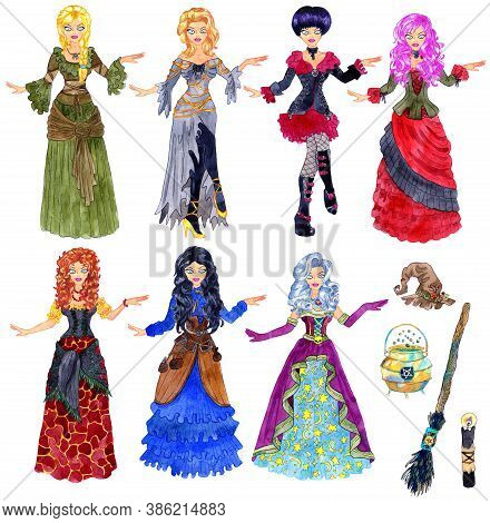 Colorful Design Set With Beautiful Witch Girl Wearing Halloween Costumes, Gothic Dress And Medieval