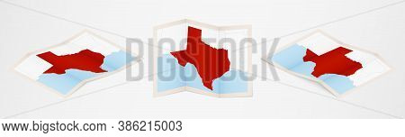 Folded Map Of Texas In Three Different Versions. Vector Map Of Texas.