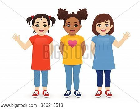 Multiethnic Girls Friends. Three Different Female Kid Faces. Asian, African And Caucasian Standing I