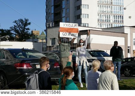 Minsk, Belarus - September 20, 2020. March Of Justice. Protesters Took To The Streets Of Minsk With