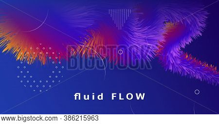 Blue Wave 3d Liquid Shapes. Vector Bright Poster. Fluid Gradient Background. Colorful Creative Motio