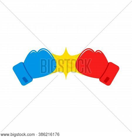 Red And Blue Boxing Gloves. Vs. Versus Battle. Confrontation Between Two Boxing Gloves.