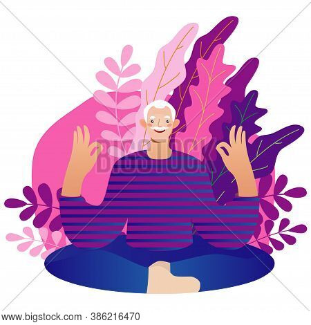 Senior Man Vector Illustration In Flat Style. Elderly Man Spends Time Outdoors.vector Illustration O