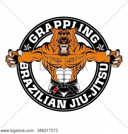 Tiger Mascot For Brazilian Jiu-jitsu And Grappling. Bjj. Vector Illustrations For T Shirt Print. Lay