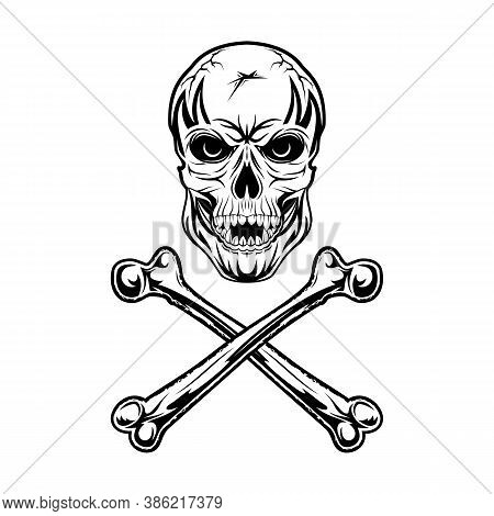 Skull And Crossbones. The Pirate Symbol. Black Tattoo. Laughing Loudly Skeleton. Head Of The Monster