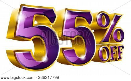 Vector 55% Off - Five Percent Off Discount Gold And Violet Sign.