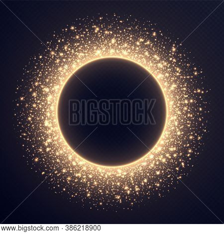Golden Circle Frame With Sparkles And Flares, Abstract Luminous Particles, Cosmic Background With Br