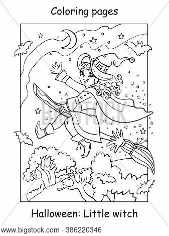 Vector Coloring Pages Little Witch Flying On Broom. Halloween Concept. Cartoon Contour Illustration