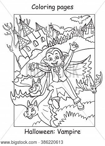 Vector Coloring Pages Running Kid In Costume Of Vampire And Bats. Halloween Concept. Cartoon Contour