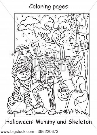 Vector Coloring Pages Happy Children In Costumes Of Skeleton And Mummy. Halloween Concept. Cartoon C