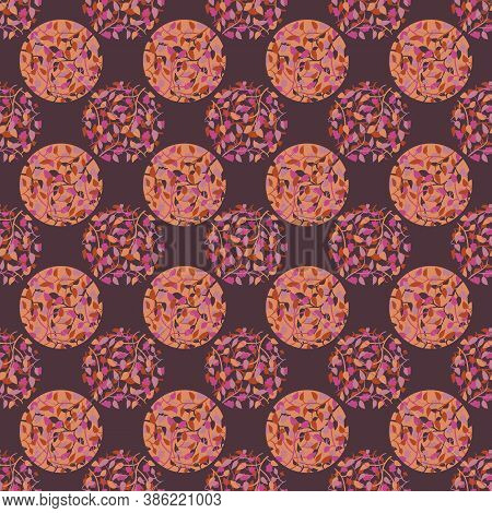 Polka Dos With Autumn Branches Seamless Vector Pattern. Rusty Leaves Surface Print Design For Fabric