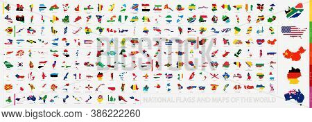 Flagged Maps Big Collection Sorted By Continent: Asia, Africa, America, Europe And Oceania. Vector M