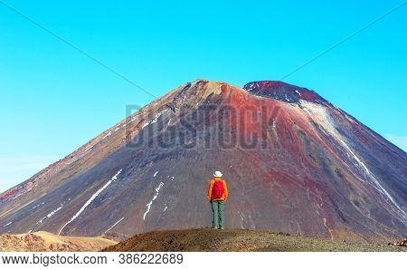 Man walking on hike trail route with New Zealand volcano,  Tramping, hiking, travel in New Zealand.