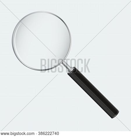 Magnifying Glass Vector Illustration. Realistic Magnifier On Light Blue Background.