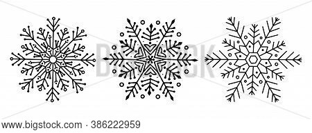 Christmas Openwork Snowflakes. Vector Illustration Of Doodle Trending White Snowflakes Line Art. Fes