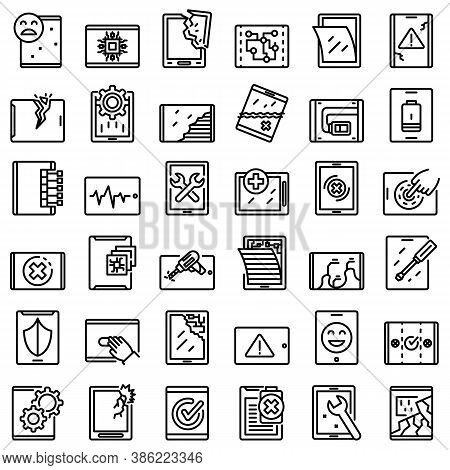 Tablet Repair Icons Set. Outline Set Of Tablet Repair Vector Icons For Web Design Isolated On White