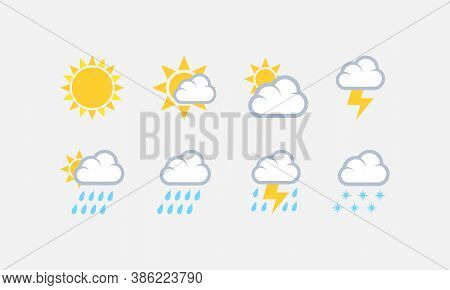 Weather Icons Vector Set. Weather Forecast Symbol For Site Or Mobile Device