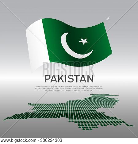 Pakistan Wavy Flag And Mosaic Map On Light Background. Creative Background For The National Pakistan