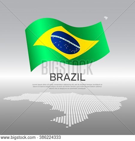 Brazil Wavy Flag And Mosaic Map On Light Background. Creative Background For The National Brazilian