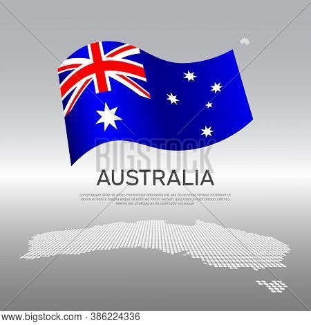Australia Wavy Flag And Mosaic Map On Light Background. Creative Background For The National Austral
