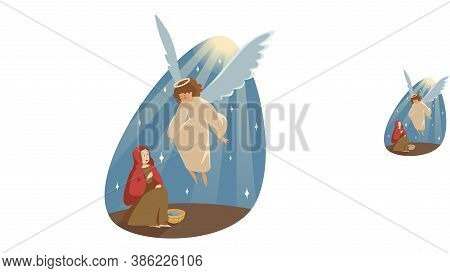 Annunciation, Religion, Bible, Christianity Concept. Catholic Orthodox Holiday Illustration. Angel B