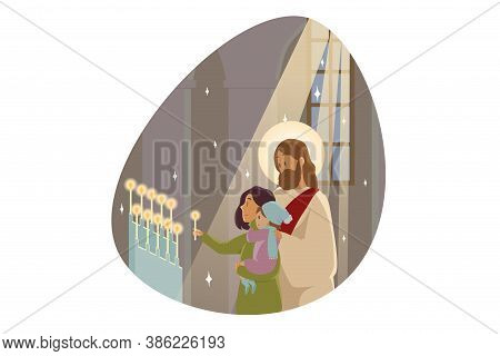 Candlemas, Religion, Character, Bible Concept. Jesus Christ Son Of God Messiah Prophet Stands With Y