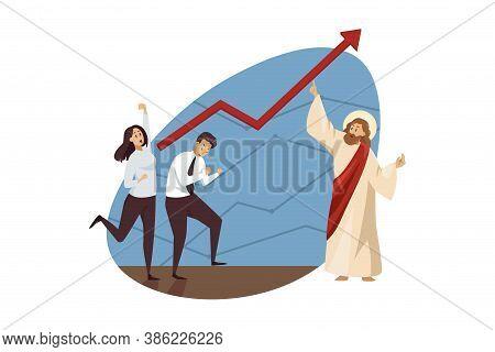 Teamwork, Startup, Religion, Christianity, Business Concept. Jesus Christ Son Of God Biblical Charac