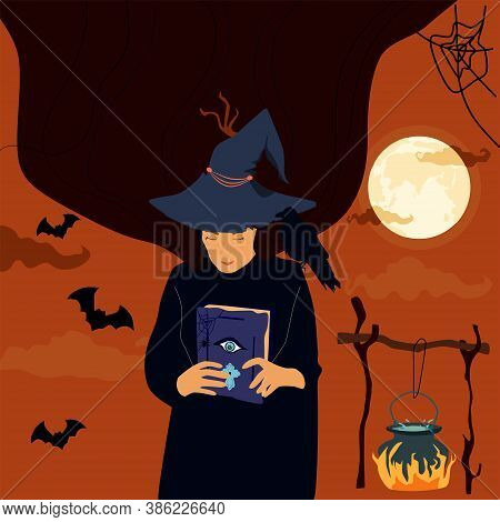 Halloween Scary Night, The Witch In Hat Holds A Magic Spell Book,conjures. Potion Poison Boils In A