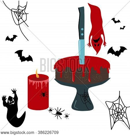 Halloween Chocolate Cake Dessert With A Stuck Knife.red Blood Stains Glaze.halloween Spooky Party Ve