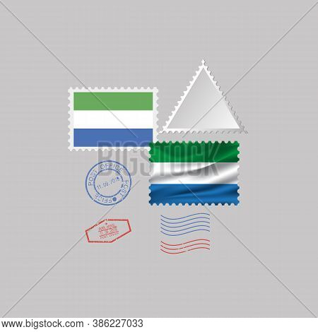 A Set Of Postage Stamps With The Image Of The Flag Of Sierra Leone Isolated On A Gray Background. 10