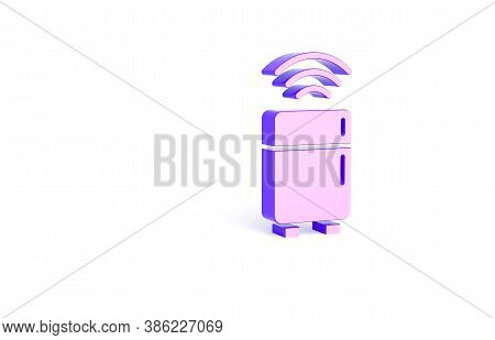 Purple Smart Refrigerator Icon Isolated On White Background. Fridge Freezer Refrigerator. Internet O