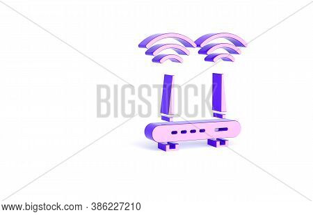 Purple Router And Wi-fi Signal Icon Isolated On White Background. Wireless Ethernet Modem Router. Co