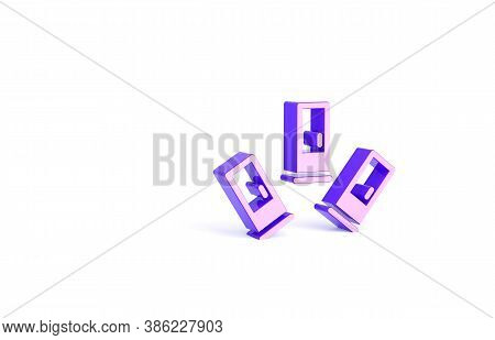 Purple Cartridges Icon Isolated On White Background. Shotgun Hunting Firearms Cartridge. Hunt Rifle
