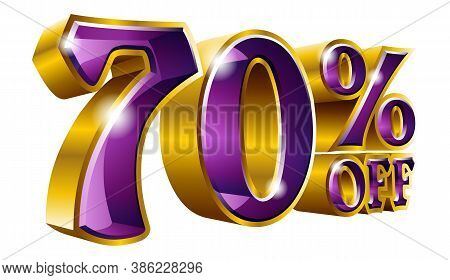 70% Off - Seventy Percent Off Discount Gold And Violet Sign. Vector Illustration. Special Offer 70 %