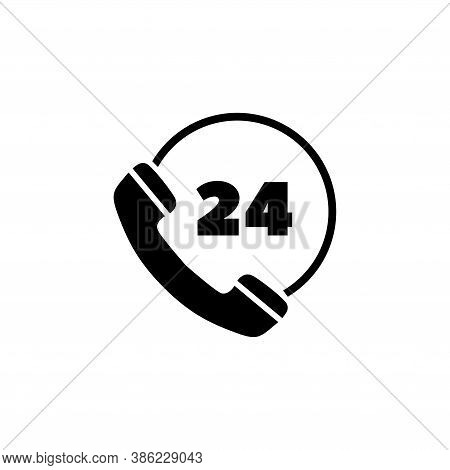 All Day Customer Support Call Center. Flat Vector Icon Illustration. Simple Black Symbol On White Ba