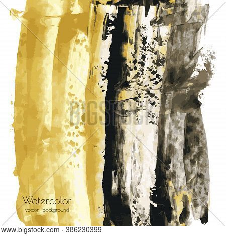 Golden And Black Vector Hand Paint Texture Background, Dry Brush Stains, Strokes, Spots, Smudge Isol
