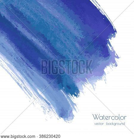 Vector Turquoise Navy Blue, Indigo Watercolor Texture Background, Dry Brush Stains, Strokes, Spots I