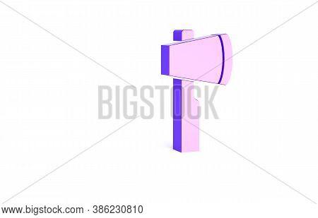 Purple Wooden Axe Icon Isolated On White Background. Lumberjack Axe. Minimalism Concept. 3d Illustra