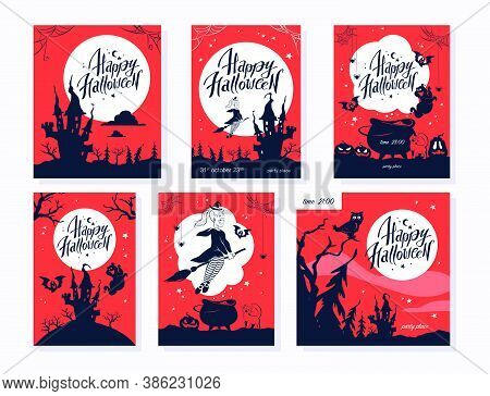 Collection Of Halloween Party Flayer, Poster, Card, Design Template. Vector Flat Cartoon Illustratio