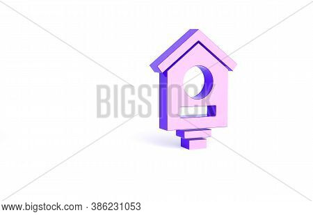 Purple Bird House Icon Isolated On White Background. Nesting Box Birdhouse, Homemade Building For Bi