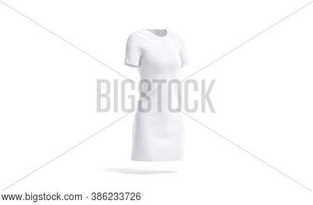 Blank White Cloth Dress Mock Up, Side View, 3d Rendering. Empty Model Knitwear Tee-shirt Mockup, Iso