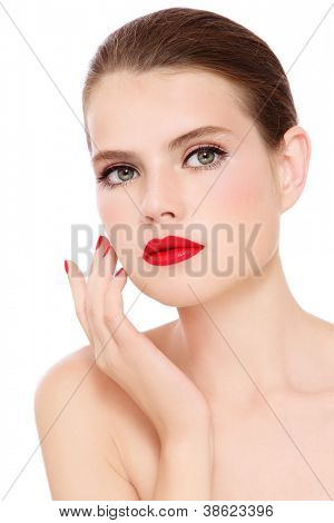 Young beautiful woman with stylish make-up over white background