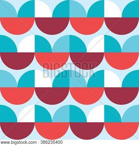 Retro 60's And 70's Style Vector Seamless Minimalist Pattern - Geometric Textile Design Mid-century