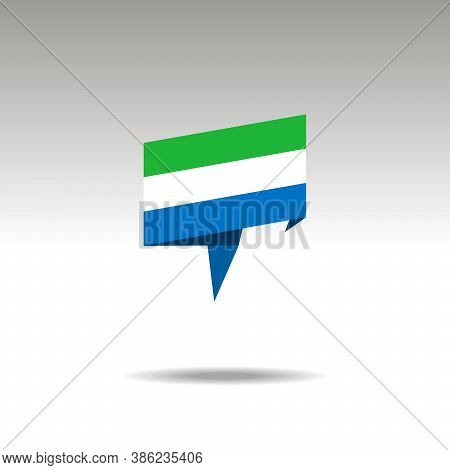 Sierra Leone Paper Flag 3d Realistic Speech Bubble On White Background