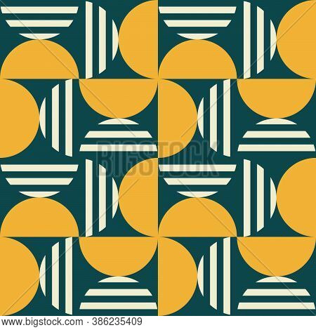 Geometric Mid-century Modern Vector Seamless Pattern - 60's And 70's Minimal Style Textile Design Wi