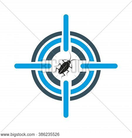Cockroach In Crosshair Symbol. Disinsection Of Premises. Pest Control Services. Isolated Image